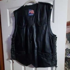 Leather USA black vest